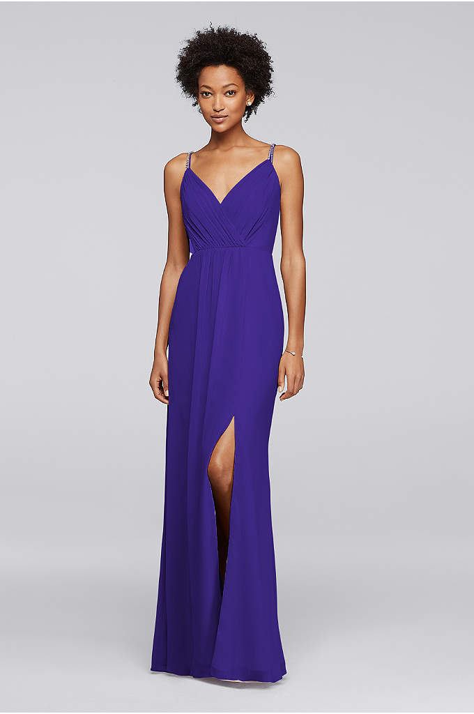 Long Bridesmaid Dress with Beaded Straps - Delicate double-beaded straps and an overlapping pleated bodice