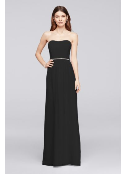 Long Bridesmaid Dress With Beaded Belt David S Bridal