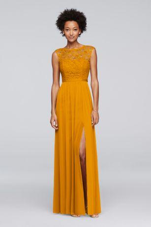 Soft & Flowy;Struct David's Bridal Long Bridesmaid Dress
