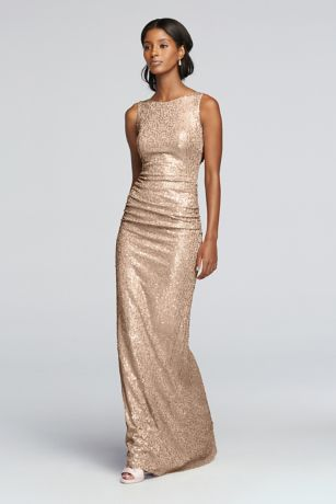 Long Sequin Tank Dress With Cowl Back
