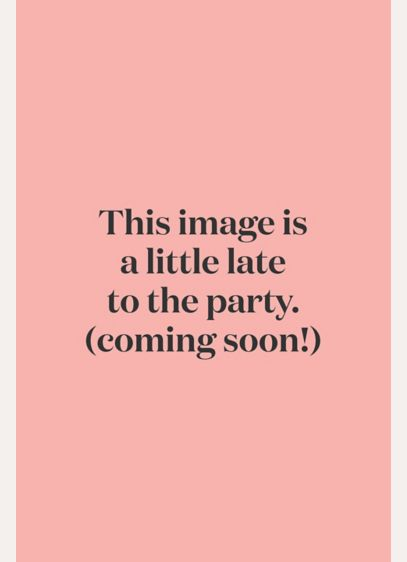 22615fcbb65 One-Shoulder Mesh Dress with Metallic Lace Inset. F19419M. Long Pink Soft    Flowy David s Bridal Bridesmaid Dress