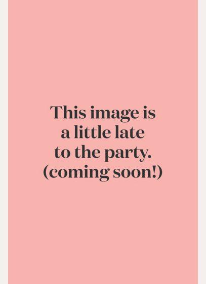 e5d2e97482c Mesh One-Shoulder Dress with Metallic Lace Inset. F19419M. Long Grey Soft    Flowy David s Bridal Bridesmaid Dress