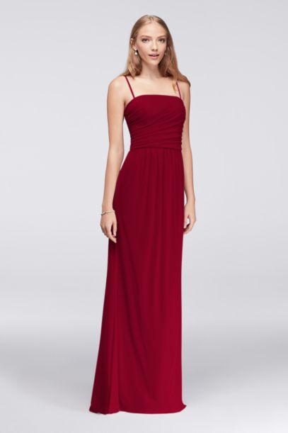 Draped Long Mesh Dress With Spaghetti Straps David S Bridal