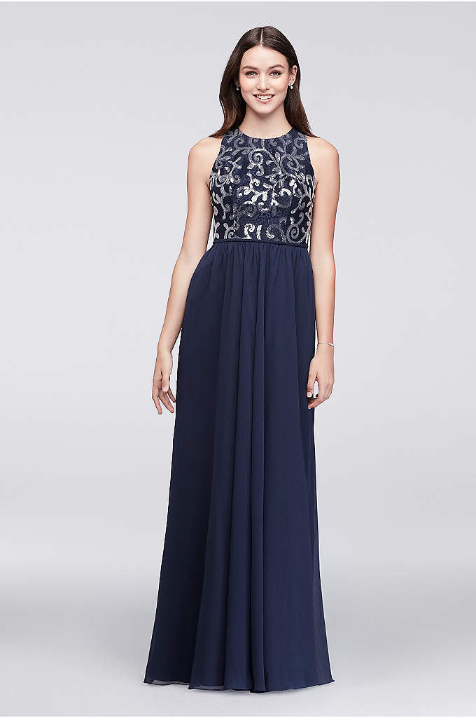 High Neck Sequined Lace and Chiffon Dress