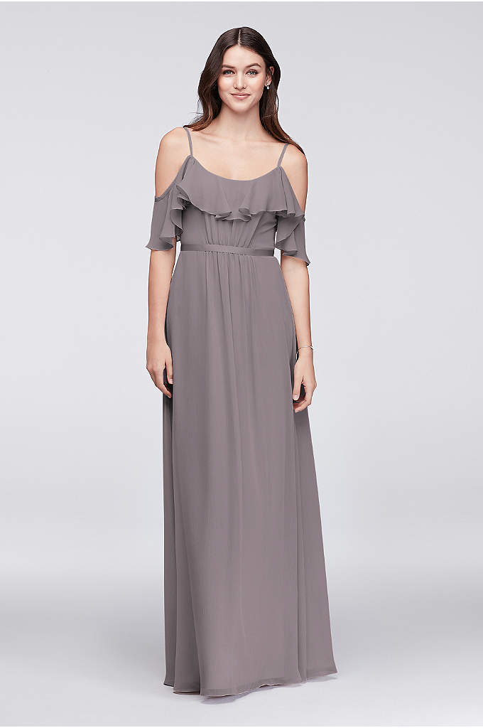 Cold-Shoulder Crinkle Chiffon Bridesmaid Dress - This crinkle chiffon bridesmaid deserves a special place