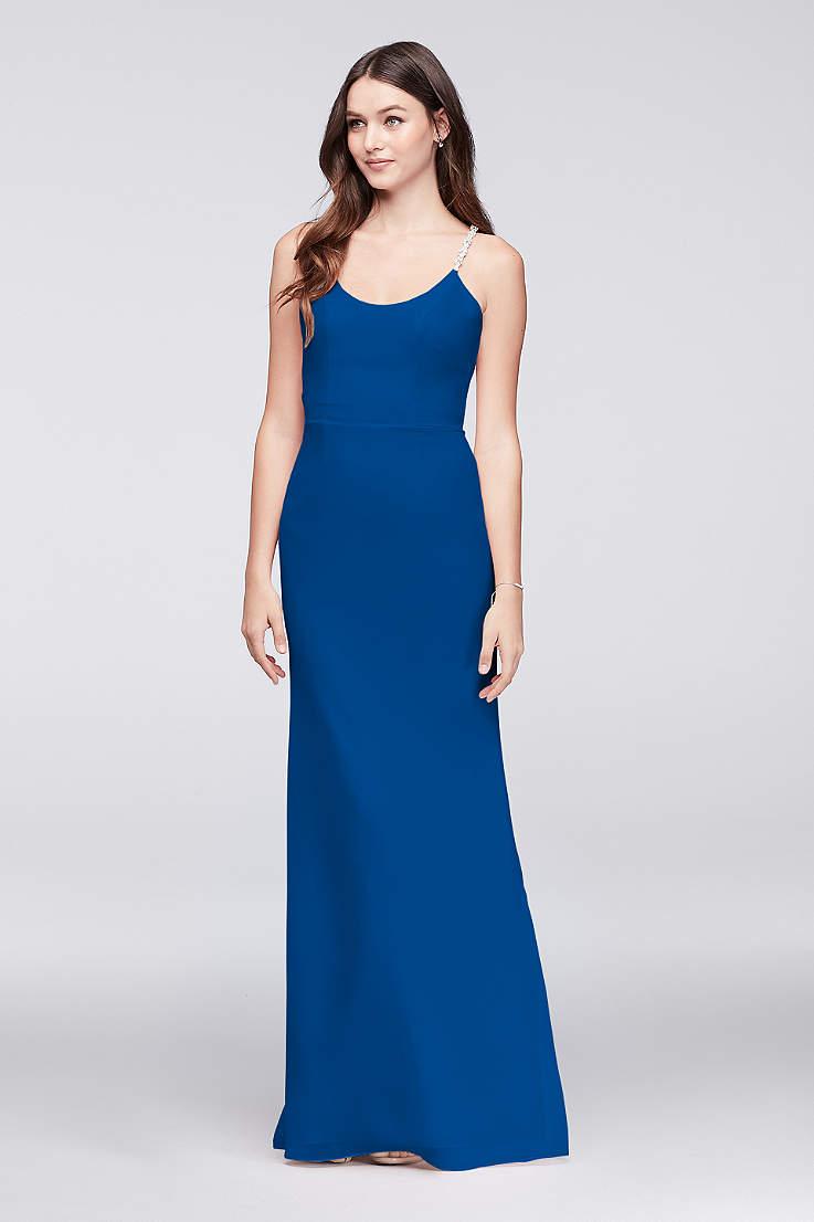 037215219 Soft   Flowy David s Bridal Long Bridesmaid Dress