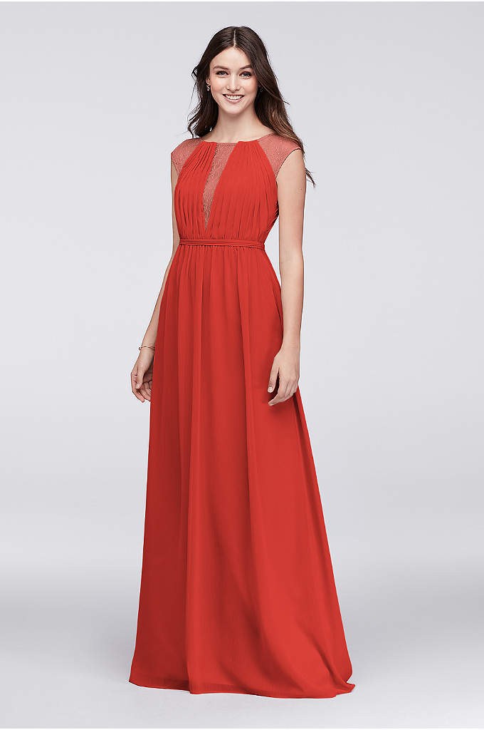 Chiffon Bridesmaid Dress with Chantilly Lace Inset - Inset with delicate Chantilly lace at the pleated,
