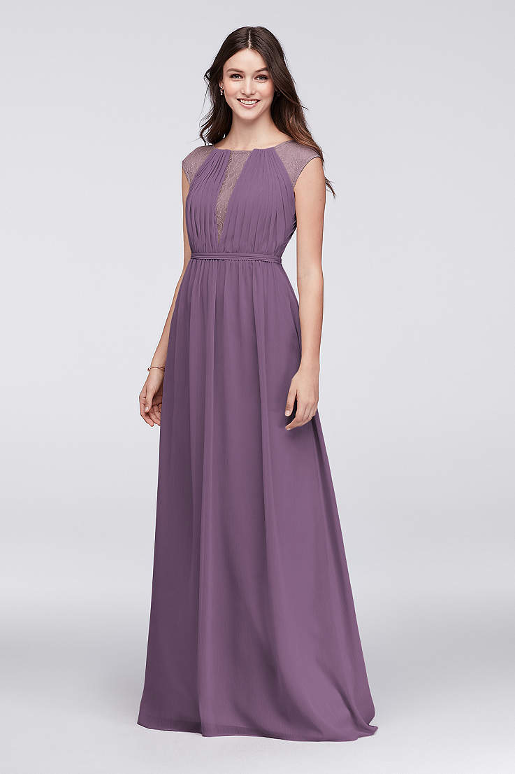 Soft   Flowy David s Bridal Long Bridesmaid Dress 368360ede372