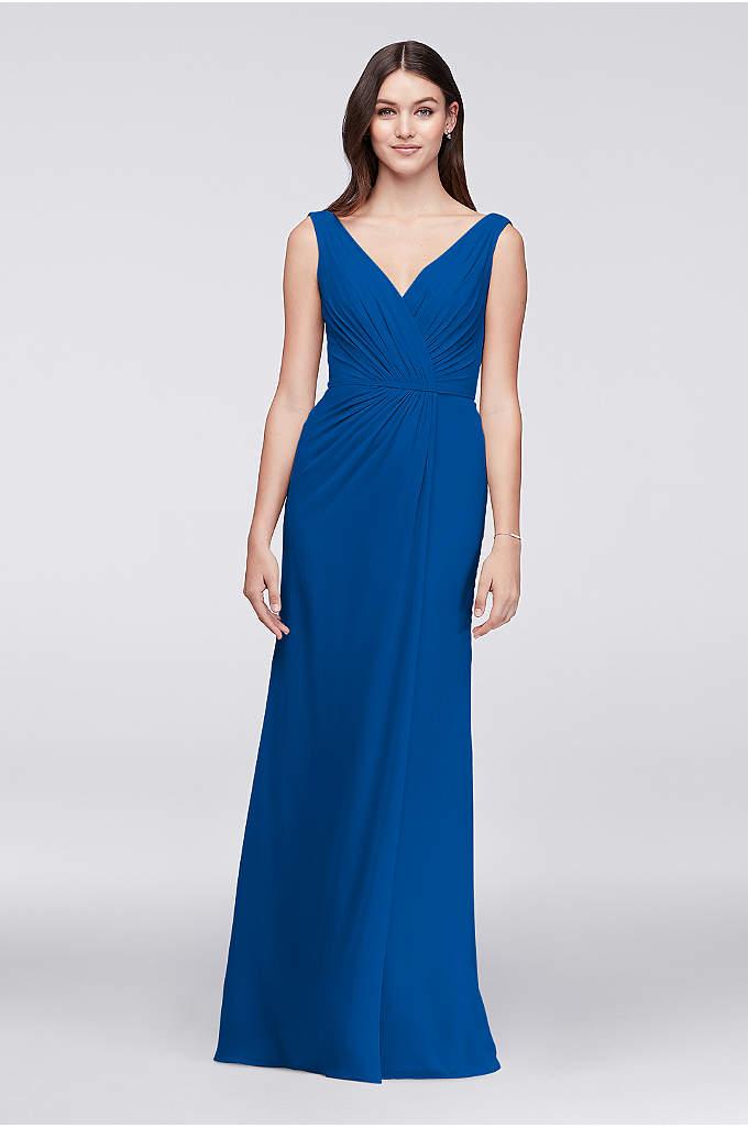 Faux-Wrap Pleated Chiffon Bridesmaid Dress - This long crinkle chiffon dress provides the figure-flattery