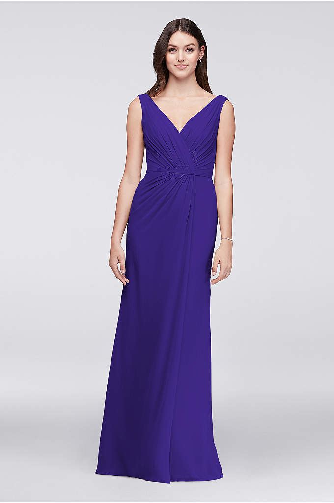 Faux-Wrap Pleated Chiffon Bridesmaid Dress - This long crinkle chiffon dress provides the figure-flattery
