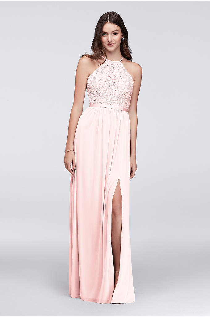 Open-Back Lace and Mesh Bridesmaid Dress - A high-neck lace halter bodice, paired with an