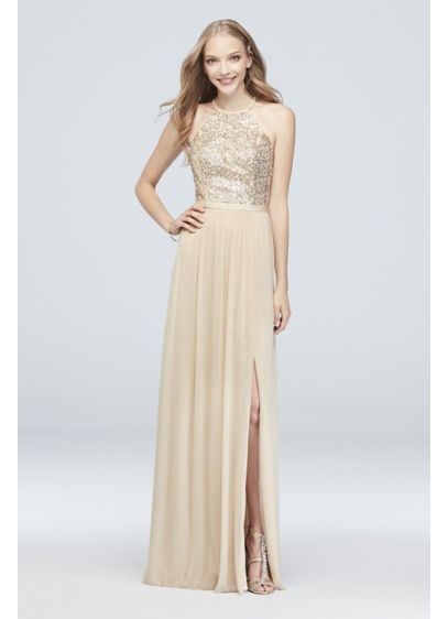 Open-Back Sequin and Mesh Bridesmaid Dress - A sequined, high-neck halter bodice, finished with an