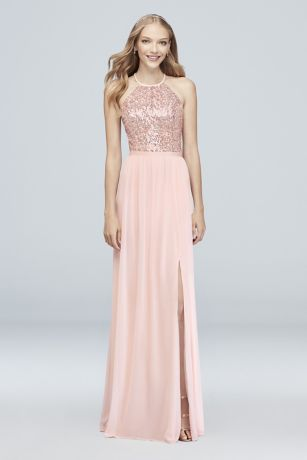 Rose Gold Bridesmaid Dresses Light Pink Metallic Gowns
