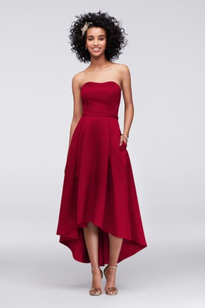 High Low Satin Bridesmaid Dress With Pockets Davids Bridal