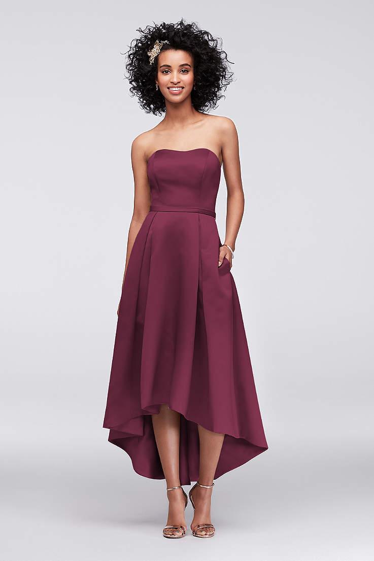 Structured David S Bridal High Low Bridesmaid Dress
