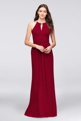 david's bridal halter bridesmaid dress