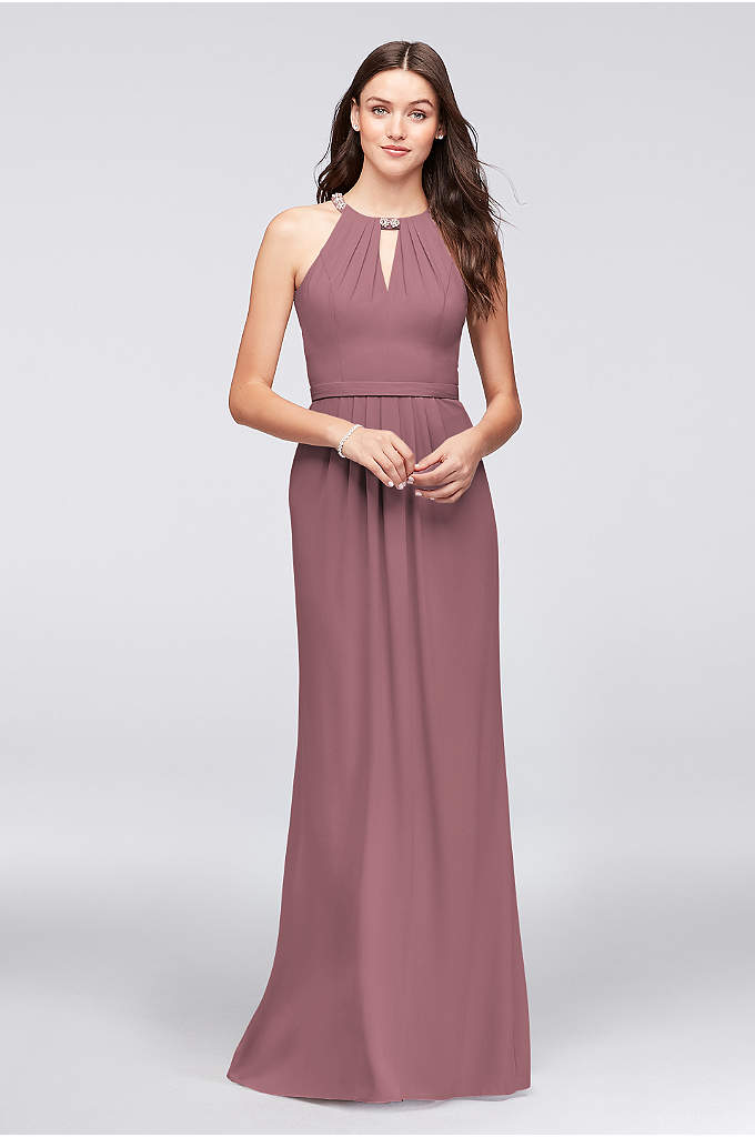 Crepe Halter Bridesmaid Dress with Beaded Neckline - Floral crystal clusters provide elegant sparkle to the