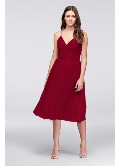 Tea Length Red Soft & Flowy David's Bridal Bridesmaid Dress