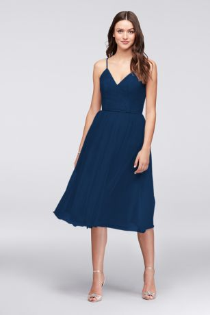Soft & Flowy;Structured David's Bridal Tea Length Bridesmaid Dress