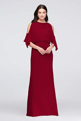 Vestido Para Dama de Chiffon Con Hombros Descubiertos