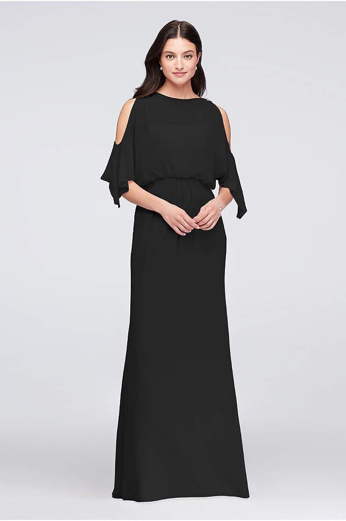 Cold-Shoulder Blouson Chiffon Bridesmaid Dress