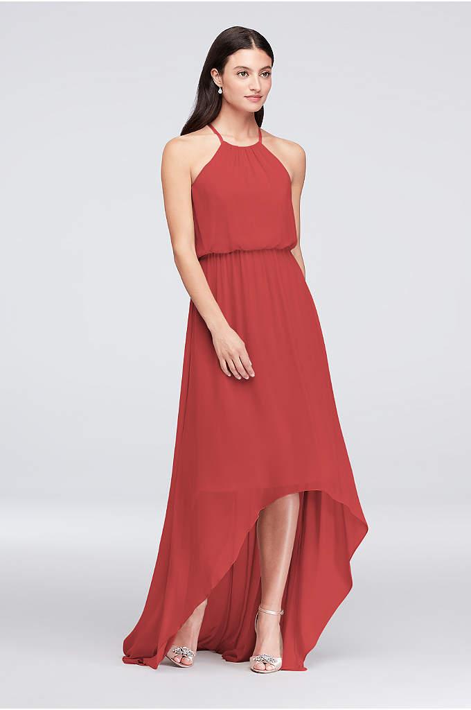High-Low Chiffon Halter Bridesmaid Dress
