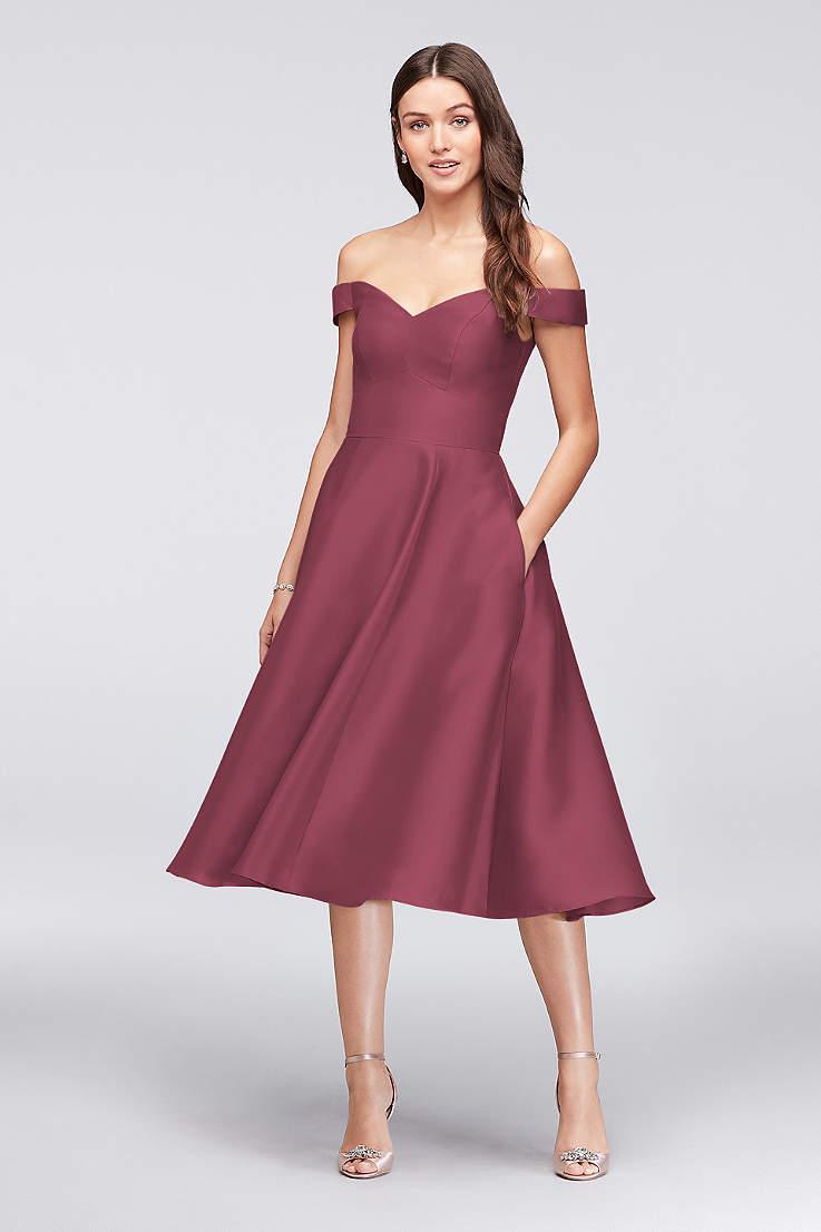 f498c33ecc43 Structured David's Bridal Tea Length Bridesmaid Dress