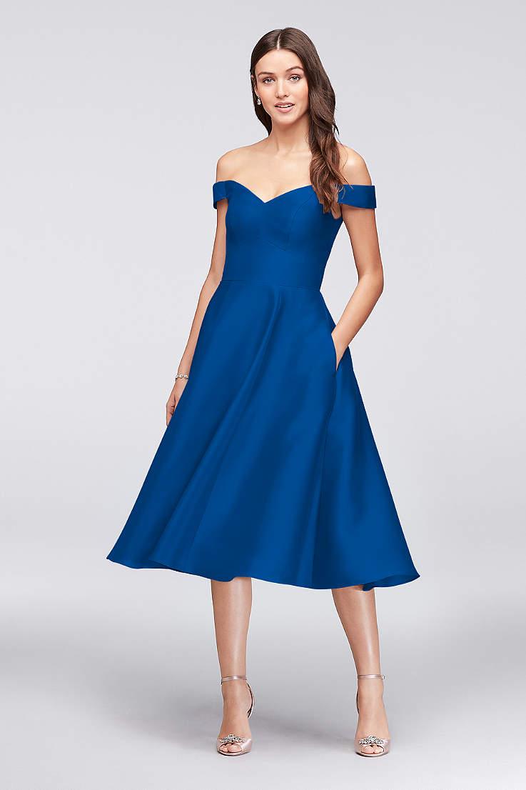 cbc708be012 Structured David s Bridal Tea Length Bridesmaid Dress