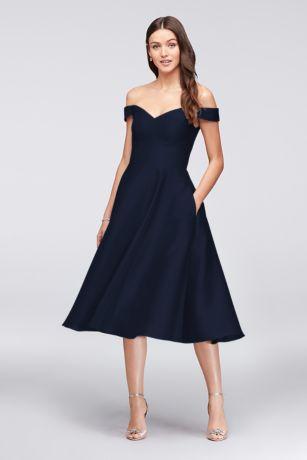 Structured Tea Length Bridesmaid Dress