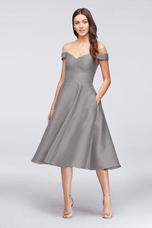 Structured David's Bridal Tea Length Bridesmaid Dress