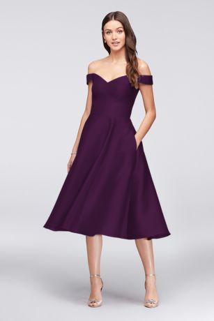 Tea Length A-Line Off the Shoulder Dress - David's Bridal