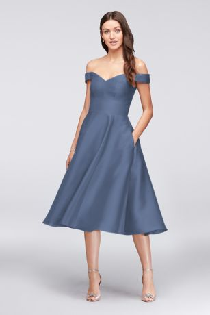 Structured David's Bridal Tea Length Bridesmaid Dress