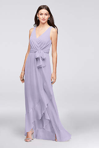 Ruffle trim chiffon faux wrap dress