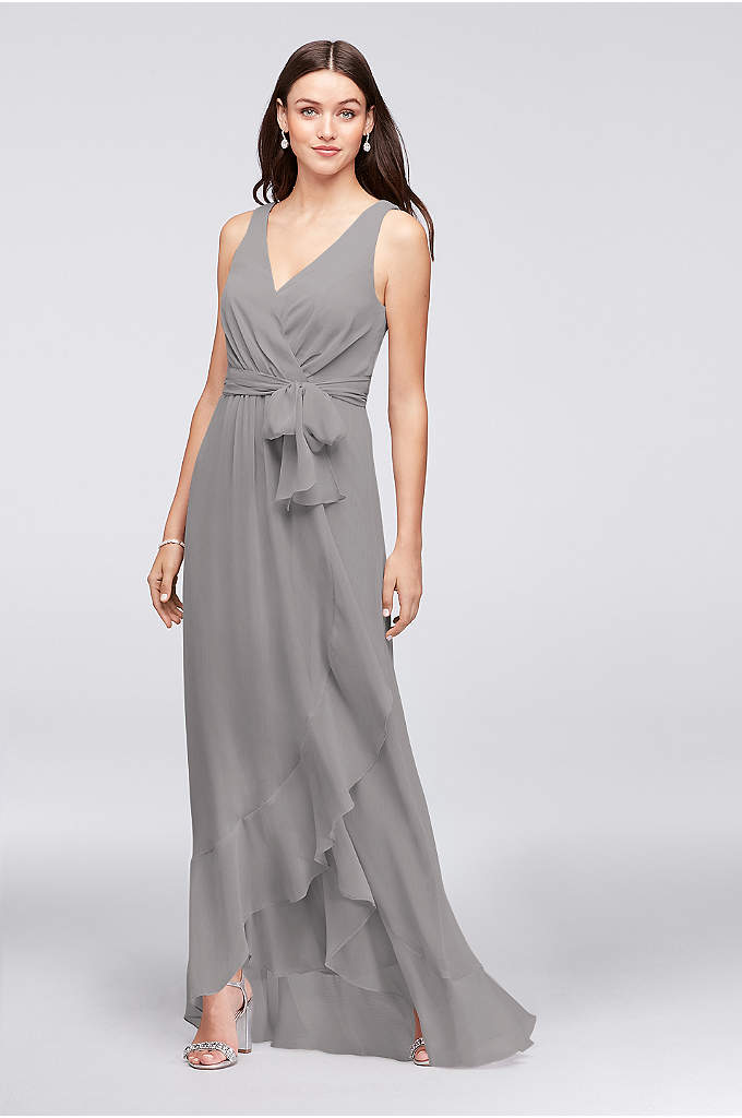 Ruffle-Trim Chiffon Faux-Wrap Bridesmaid Dress - Easy and breezy, this crinkle chiffon bridesmaid dress
