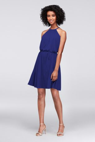 Cobalt Blue a Line Short Chiffon Dress