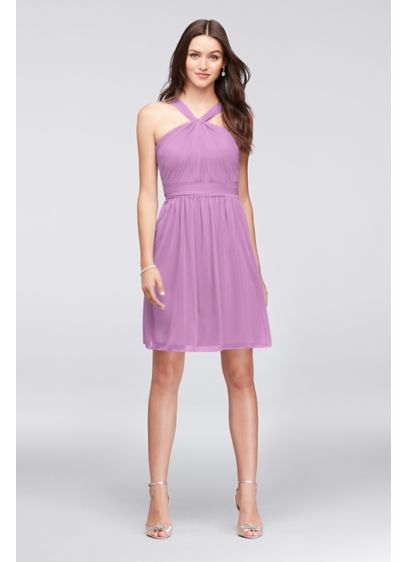 Short Purple Soft & Flowy David's Bridal Bridesmaid Dress