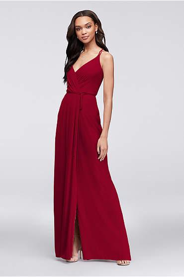 Double-Strap Long Georgette Bridesmaid Wrap Dress
