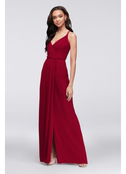 Double-Strap Long Georgette Bridesmaid Wrap Dress - This long georgette bridesmaid dress features true wrap