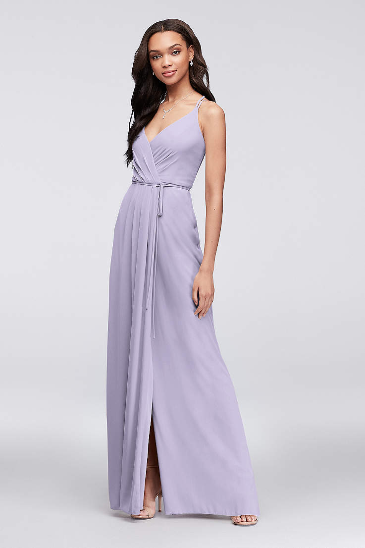 5b2ff962a07 Long Sheath Spaghetti Strap Dress - David s Bridal