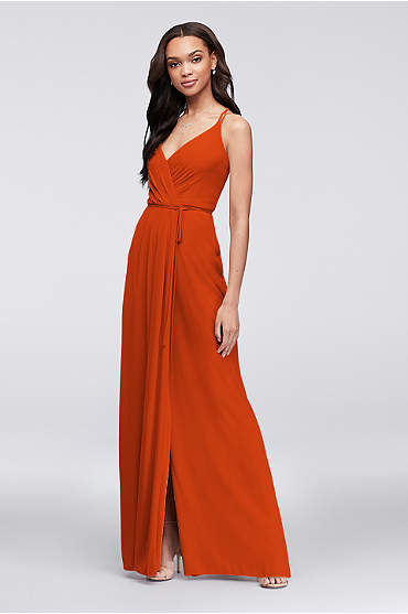 Double-Strap Long Georgette Bridesmaid Wrap Dress