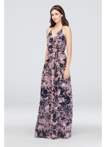 Double-Strap Long Printed Bridesmaid Wrap Dress - This printed georgette bridesmaid dress features true wrap