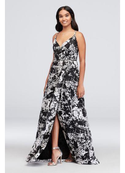 Long Double-Strap Printed Bridesmaid Wrap Dress - This printed georgette bridesmaid dress features true wrap