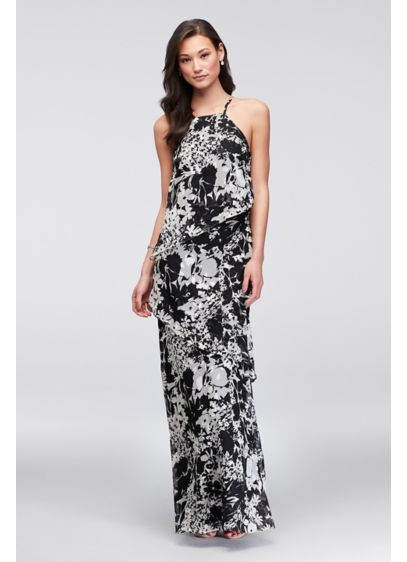 Waterfall Tier Printed Georgette Bridesmaid Dress - This long, floral-printed georgette bridesmaid dress with waterfall