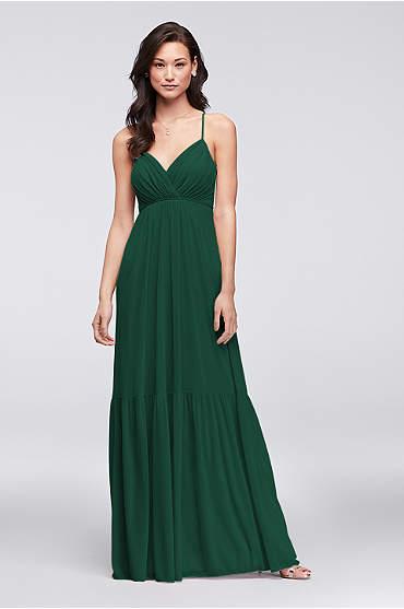 Surplice Mesh Bridesmaid Dress with Peasant Skirt