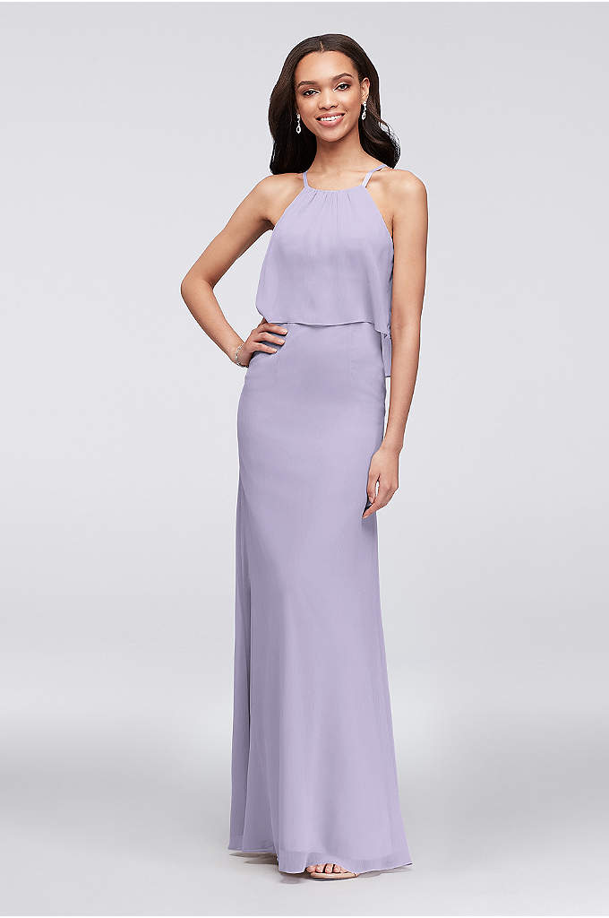 Flounced Crinkle Chiffon Sheath Bridesmaid Dress - In search of a sophisticated bohemian wedding party