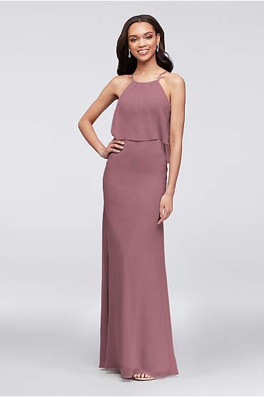 Flounced Crinkle Chiffon Sheath Bridesmaid Dress