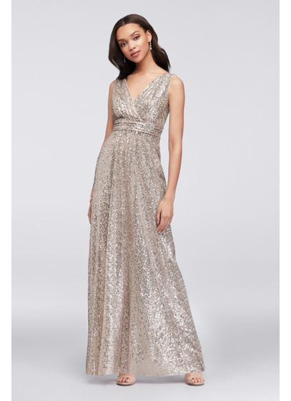Sequin V-Neck Bridesmaid Dress with Empire Waist - Prepare to wow in this empire-waist bridesmaid dress,
