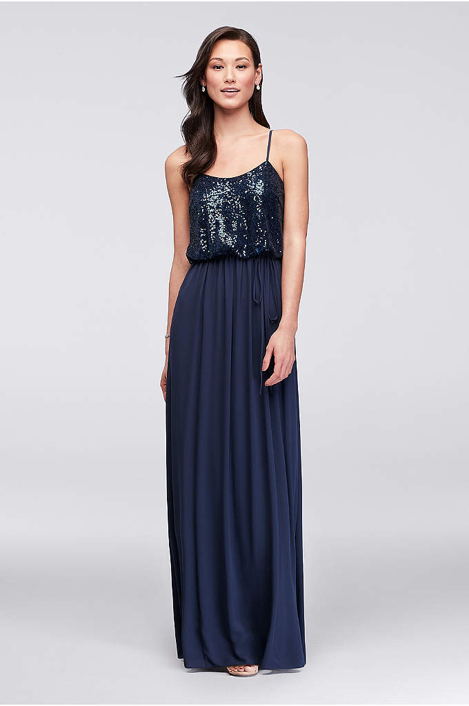 Long Sequin Blouson Bridesmaid Dress - Get glowing in this long bridesmaid dress, fitted