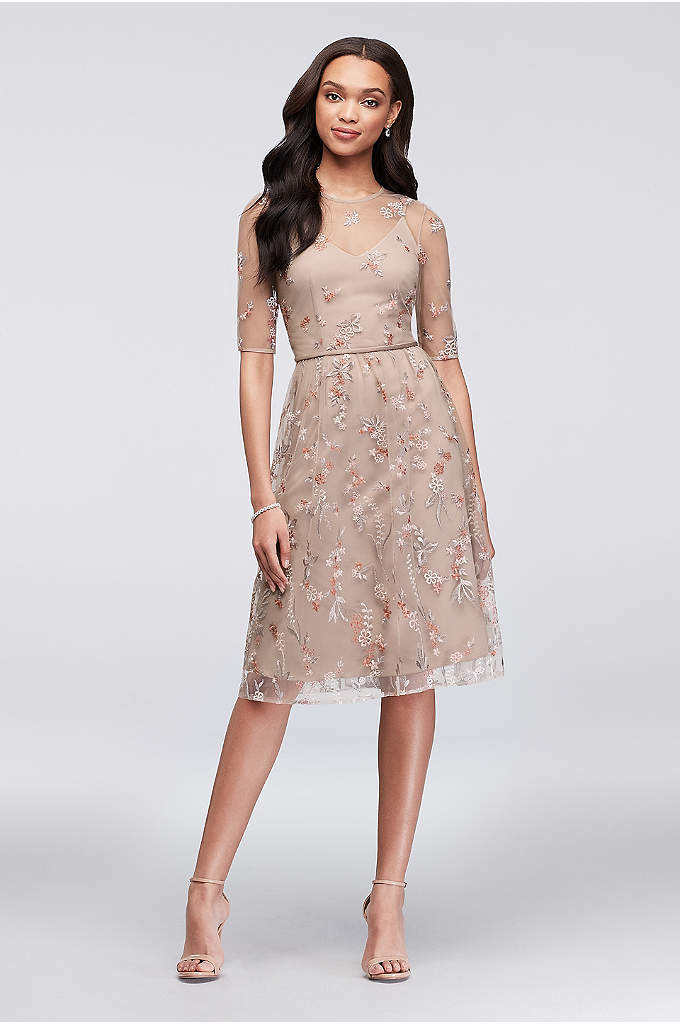 Embroidered Elbow Sleeve Illusion Bridesmaid Dress - Embroidered with blooms from neckline to tea-length hem,