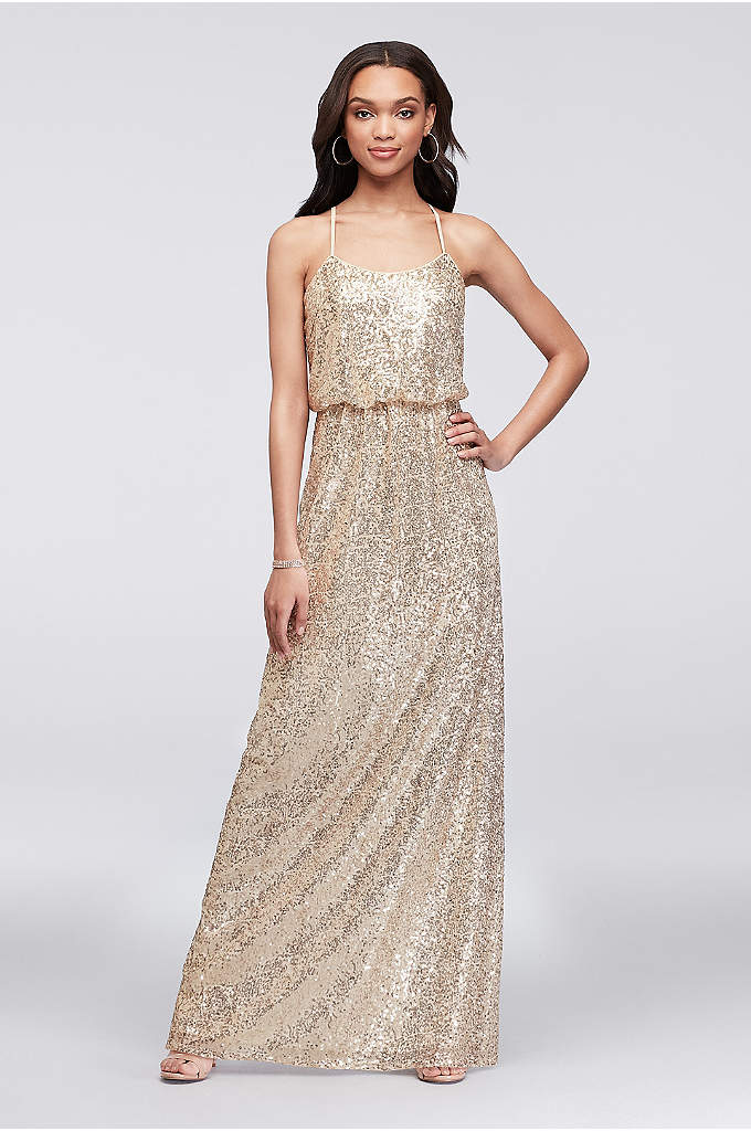 Allover Sequin Blouson Tank Bridesmaid Dress - Your party will shine in this long, flowy